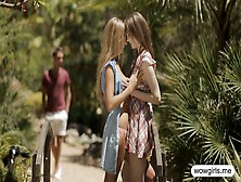 Cock Hungry Teens Beata And Anjelica Outdoor Threesome Fuck