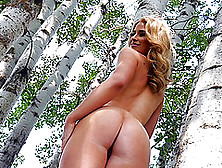 Luscious Blonde Strips Then Fingers Her Twats On The Woods