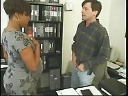 Pregnant Ebony Takes White Cock In The Office For A New Job