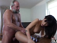 Sexy Young Girl Fucked By Fat Old Man Gets Cum In Mouth And Swal