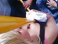 Blonde Epic Downblouse On The Bus