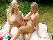 Teens On A Lesbian Picnic Eat Pussy In The Grass