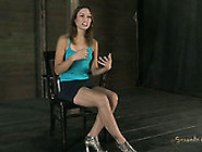 Tied Up Tall Slim Slut Amber Rayne Has To Give A Solid Deepthroa