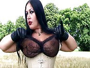 Impressive Goth Girl Gives A Tit Job In The Open Air