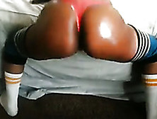 My Bootyful Ebony Friend Oils Her Ass And Gives A Twerking Show