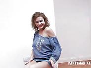 Panty Tease.  Showing You Her Cute Satin Panties