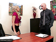 Office Fuck And Titjob With A Blonde Secretary In Stockings