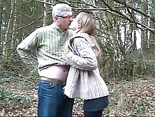 18Y Wife With Old Stranger In Forest