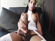 Solo Action With Big Boobed Shemale In Stockings