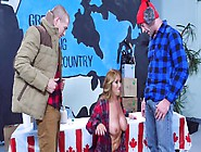 Two Well Endowed Canadian Dudes Are Down To Fuck A Blonde Whore