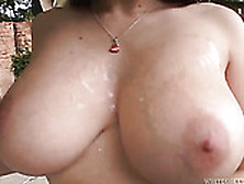 Insatiable Chick With Saggy Tits Oils Up Her Gorgeous Body Outdo