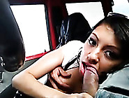 Pretty Latina Babe Sucking My Cock In A Car While I Film On My P