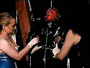 Lesbian Latex Dominatrices Humiliate A Submissive Male