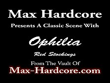 Ophelia Sodomized In Red Stockings - Max Hardcore