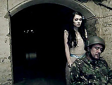 Brunette Juicy Pussy Getting Throbbed Hardcore In Military Camp