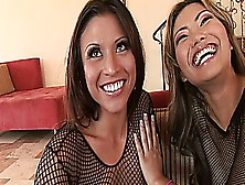 Two Dirty Asian Babes Get Their Butts Fucked By A Big Black Cock