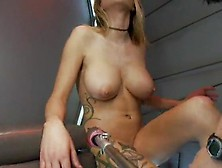 Giant Tited Tattooed Blonde Beauty Squirting To A Triple Machine