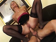 Sultry Blonde Mom In Black Stockings Has A Young Man Fucking Her