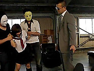 Naughty Japanese Coed Gets Gangbanged In A Warehouse