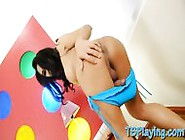 Enhanced Boobs Tranny Champagne Handjobs Her Dick On The Bed