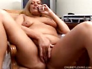 Chubby Big Tits Amateur Talks Dirty On The Phone And Fingers Her