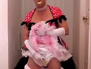 Adultbaby Diapered Sissy In Pretty Red Dress