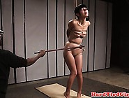 Subdued Asian Sub Tightly Roped And Caned