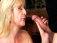 Slender Blond Mom Hops On Beefy Hairy Dude In Cowgirl Style