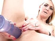 Dashing Blonde Milf Strips Her Pants And Enjoys Solo Masturbatio