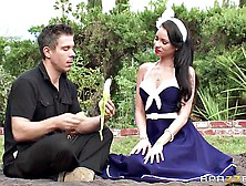 Retro Busty Girl Raven Bay Gets Her Pussy Pounded On The Lawn