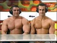 Two Sexy Italian Men Bounce Their Pecs On Tv