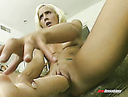 Slender Blonde With Small Saggy Tits Spreads Legs Wide And Dildo