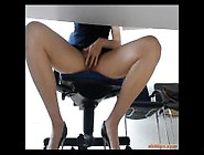Office Lady Bored At Work Plays With Herself