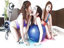 Hot Lesbian Threesome In The Yoga Studio