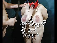 Tit Torture With Clips - Beat Off At The End