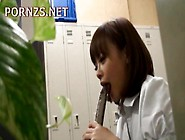 Japanese Girl Playing With Herself Using Toys In A Lockeroom By