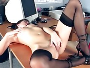 Office Honey Fingering Inside Sheer Stockings And Heels