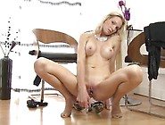 Blonde Angel Summers Plays With Dildo