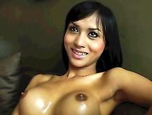 Oriental Ladyboy Stroking Her Thick Dick