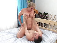 Chubby Granny With Huge Boobs Rides On A Young Man