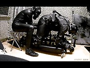 Biker Bound In Floor Pillory With Electro And Breath Control
