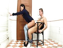 Girl With Trousers Fucked On Chair