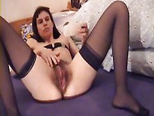 Brunette Bettina Is Toying Her Hairy Pussy And Rides Her Dildo