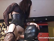 Horny Tgirl Gives Latex Gimps 9 Inch Cock After Strapon Fuck