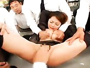 Submissive Japanese Slut Has A Gang Of Horny Guys Pleasing
