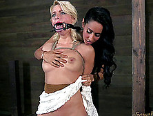 Dominant Black-Haired Lady Torturing One Of The Hottest Blondes