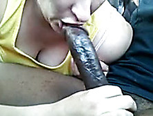 Trash White Hooker Provides My Bbc With Sloppy Blowjob In Car