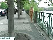 Hot Blonde Walking Butt Naked On The Street