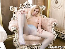 Hot Petite Blonde Strips And Wanks In Nylon Pantyhose