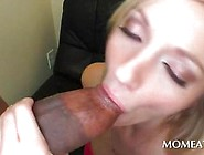 Blonde Sweetie Rubs Her Clit And Blows Massive Black Dick